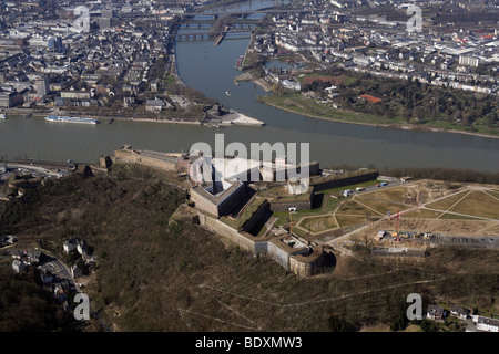 Aerial view, fortress Festung Ehrenbreitstein and the construction site of the Bundesgartenschau Federal Horticultural - Stock Photo