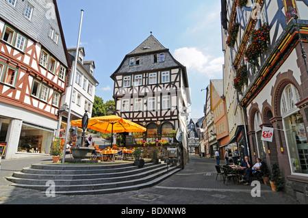 Street cafe, restaurants, Eisenmarkt square, historic half-timbered houses, historic town, Wetzlar, Hesse, Germany, - Stock Photo