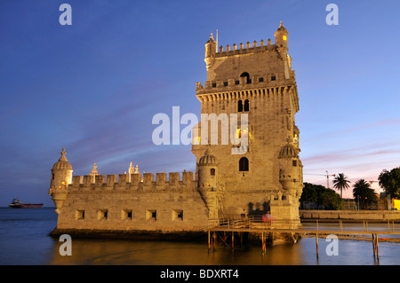 Torre de Belem, defensive fortification from the 16th century, UNESCO World Heritage Site, at the mouth of the Tagus - Stock Photo