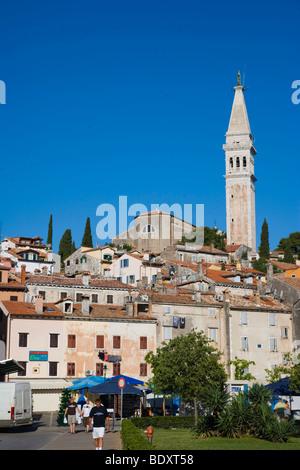 Rovinj old town with Saint Euphemia's basilica, seen from Valdibora, Rovinj, Istria, Croatia, Europe - Stock Photo