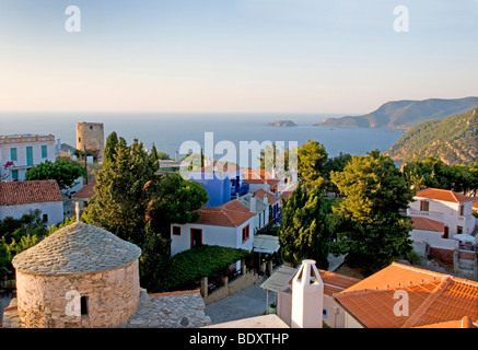 View over old town, Alonissos, Sporades, Greek Islands - Stock Photo