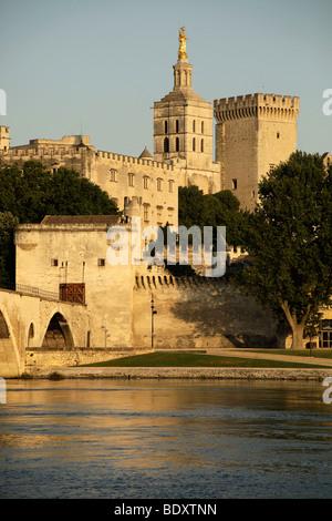 Cityscape Avignon with Rhone-Pont St. Benezet bridge, Palais des Papes, Pope's Palace, cathedral and river Rhone - Stock Photo