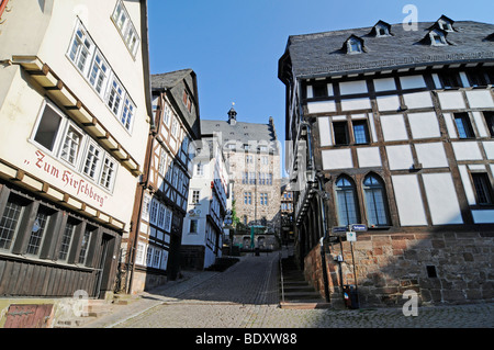 Steile Strasse street, historic half-timbered houses, historic centre, Marburg, Hesse, Germany, Europe - Stock Photo