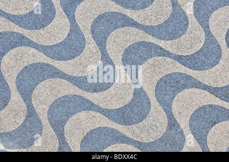 Cobblestones with a wavy pattern, Belem, Lisbon, Portugal, Europe - Stock Photo