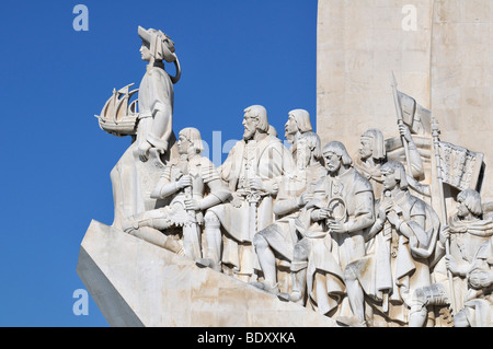 Monument to the Discoveries, Padrao dos Descobrimentos, with great people of the Portuguese seafaring history, on - Stock Photo