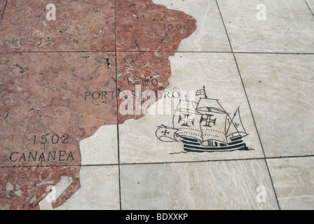 Discovery of Brazil in 1500 by the Portuguese, detail of a giant world map at the foot of the Monument to the Discoveries, - Stock Photo