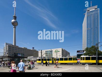 Alexanderplatz square, Berolina house, television tower, Galeria Kaufhof, tram, Park Inn Hotel, Mitte, Berlin, Germany, Europe