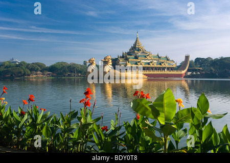 Karaweik restaurant, dragon boat, Kandawgyi Lake, Rangoon, Yangon, Burma, Myanmar, Asia - Stock Photo