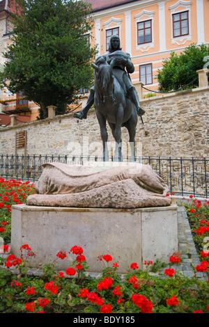 St George, equestrian statue by Kompatscher nad Winder near Stone Gate, Kamenita Vrata, Gornji Grad, Zagreb, Croatia, - Stock Photo