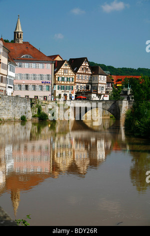 View from the Kocher River towards the colourful houses in the city of Schwaebisch Hall, Baden-Wuerttemberg, Germany, - Stock Photo