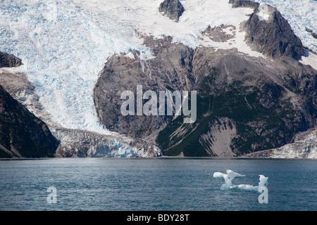 Seward, Alaska - Melting ice floats in front of Northwestern Glacier in Kenai Fjords National Park. - Stock Photo