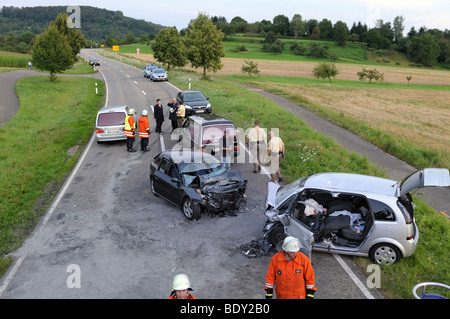 Couple was killed in traffic accident, head-on collision on the L 1184 road between Miedelsbach and Rudersberg, - Stock Photo