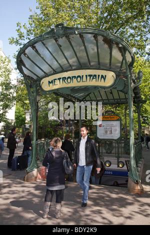 Art deco entrance to a metropolitan station at Place des Abbesses in Paris, France - Stock Photo
