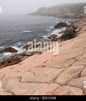 Smooth rock in fog at Lakies Head and Broad Cove in Cape Breton Highlands National Park - Stock Photo