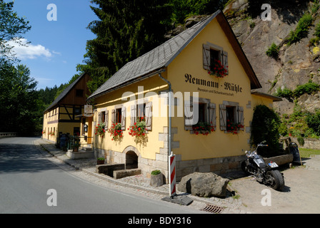 Neumann Muehle mill, Kirnitzschtal valley, Nationalpark Saechsische Schweiz National Park Saxon Switzerland, Saxony, - Stock Photo