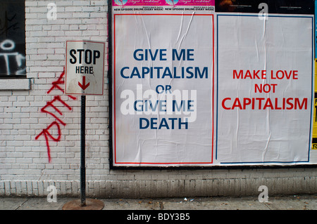 Advertising for the new Michael Moore film, 'Capitalism: A Love Story' - Stock Photo