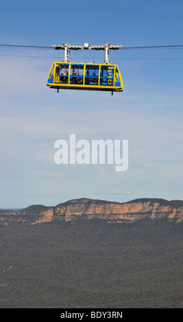 Scenic Skyway cable car from the Scenic World Complex in front of Jamison Valley, Blue Mountains National Park, - Stock Photo