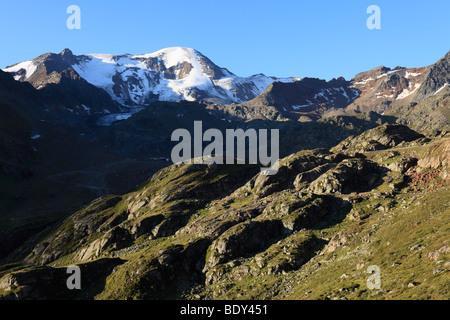 Weissseespitze Mountain, glacier-polished rock, Kaunertal, Oetztal Alps, Tyrol, Austria, Europe - Stock Photo