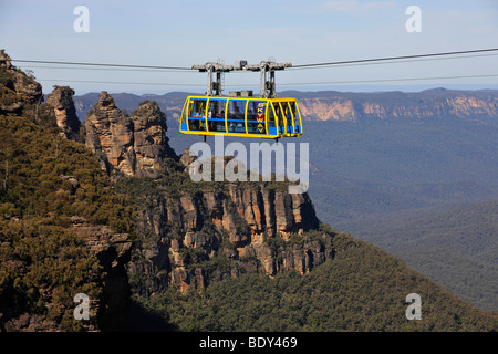 Scenic Skyway cable car from the Scenic World Complex in front of the Three Sisters rock formation, Jamison Valley, - Stock Photo