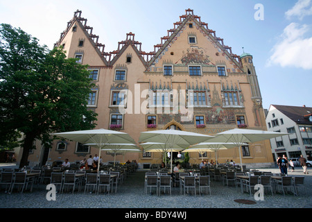 Colourful facade at the Town Hall, Ulm, Baden-Wuerttemberg, Germany, Europe - Stock Photo