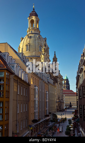 The Frauenkirche in Dresden, capital of the eastern German state of Saxony, seen in morning light - Stock Photo