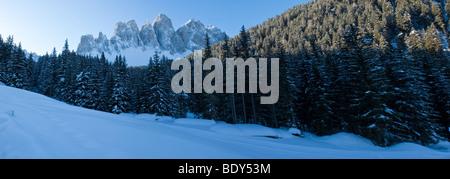 Winter landscape, Le Odle Group, Val di Funes, Italian Dolomites mountains, Trentino-Alto Adige, South Tirol (Tyrol), - Stock Photo