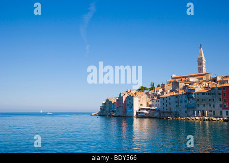 Rovinj historic centre, seen from the pier of the southern harbour, Rovinj, Istria, Croatia, Europe - Stock Photo