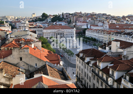 View of the Praca Rossio square from the Elevador Santa Justa elevator, Baixa District, Lisbon, Portugal, Europe - Stock Photo