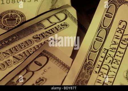 Close up of US dollar bills - Stock Photo