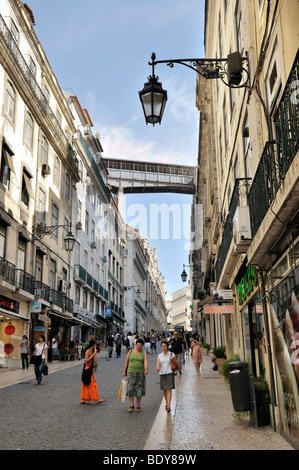 Rua do Carmo, connecting the districts of Baixa and Chiado, Lisbon, Portugal, Europe - Stock Photo