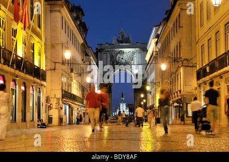 Rua Augusta street at night, pedestrian and shopping mile, Baixa District, Lisbon, Portugal, Europe - Stock Photo