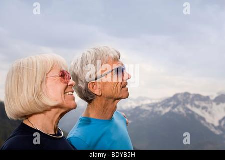 senior couple in mountains