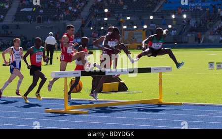 Men's heat in 3000 meters steeplechase at the Athletics World Championships 2009 in Berlin, Germany, Europe - Stock Photo