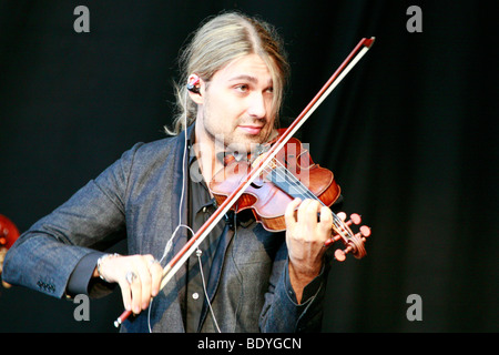 Star violinist David Garrett live at the movie nights at the bank of the river Elbe in Dresden, Saxony, Germany, - Stock Photo