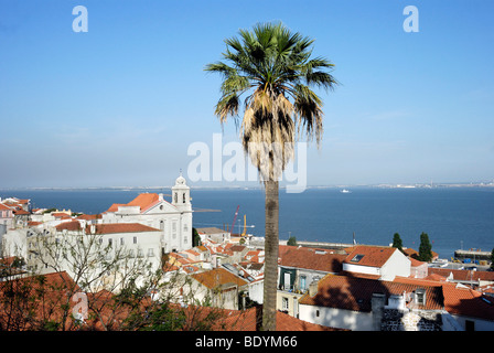 View over the Alfama district with the church of Santo Estevao, Lisbon, Portugal, Europe - Stock Photo