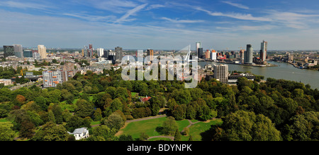 aerial panorama image of Rotterdam in the Netherlands, Europe - Stock Photo