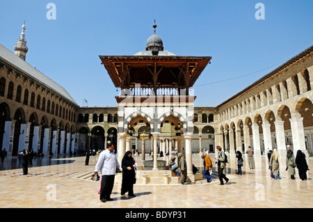Courtyard of the Umayyad-Mosque in Damascus, Syria, Middle East, Asia - Stock Photo