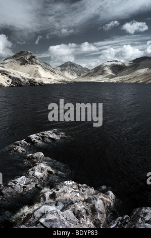 Infrared image of Wast Water in the Lake District, Cumbria - Stock Photo