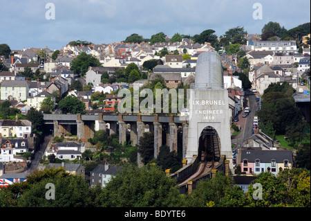 The Isambard Kingdom Brunel Bridge over the River Tamar at Plymouth, Devon, England - Stock Photo