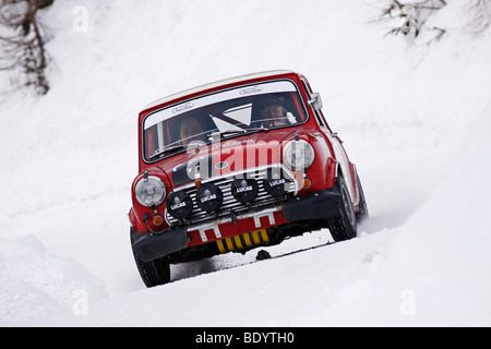 Austin Mini Cooper S, rally legend Rauno Aaltonen at the wheel, built in 1964, Planai Classic 2009, vintage car - Stock Photo