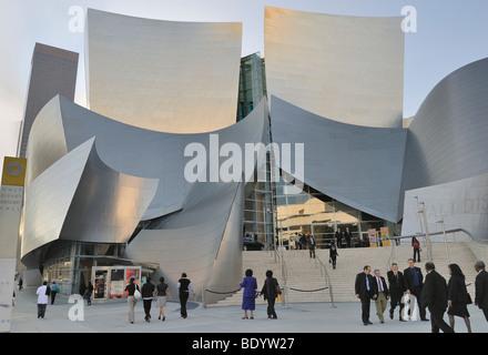 Walt Disney Concert Hall, architect Frank O. Gehry, entrance area, Los Angeles, California, USA - Stock Photo