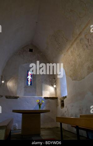 dh Chapelle Ste Apolline ST SAVIOURS GUERNSEY St Apolline 14th century chantry chapel interior church altar - Stock Photo