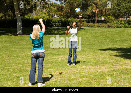 11-13 year old olds Junior high girls toss ball to each other. MR  © Myrleen Pearson - Stock Photo