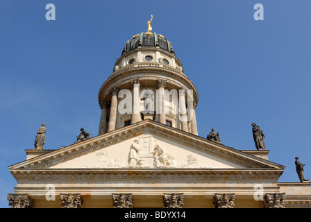 Franzoesischer Dom, French Cathedral at the Gendarmenmarkt, Berlin, Germany, Europe - Stock Photo