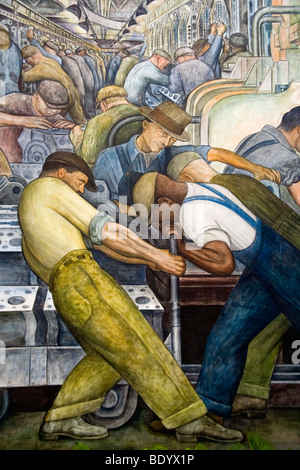 Ford river rouge factory workmen assemble new cars in a for Diego rivera ford mural