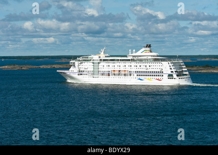 The Birka Line Baltic cruise ship Birka Paradise crosses the Aaland Sea in the Baltic from Mariehamn to Stockholm - Stock Photo
