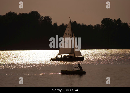 Boats on the Chiemsee lake, Bavaria, Germany, Europe - Stock Photo