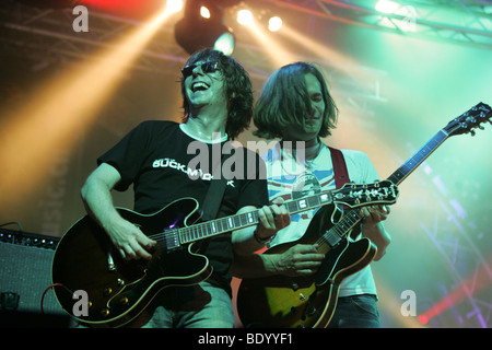 Volker Hinkel and Gabriel Holz, guitarists of the German pop group Fool's Garden, performing live at Openquer in - Stock Photo