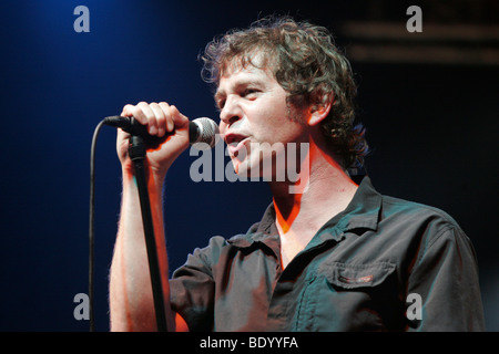 Peter Freudenthaler, singer and frontman of the German pop group Fool's Garden, performing live at Openquer in Zell, - Stock Photo
