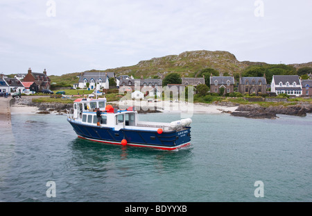 Isle of Iona Scotland - summer boat for trip to Staffa - Stock Photo